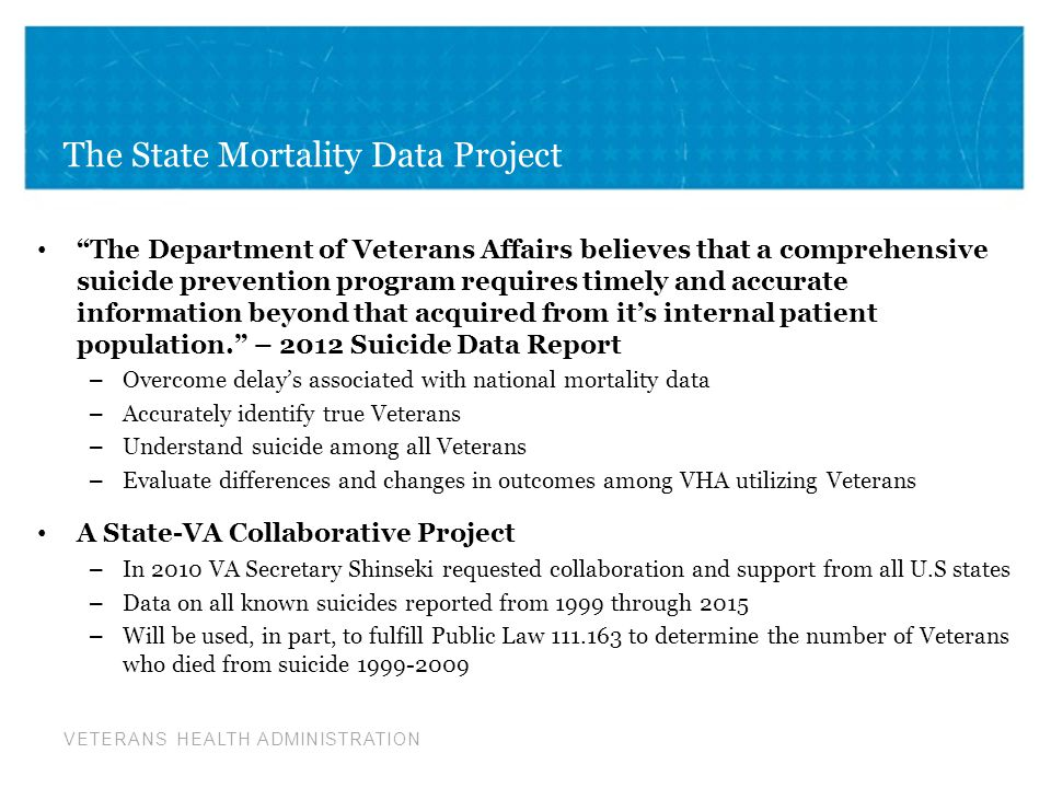 VETERANS HEALTH ADMINISTRATION Project Status: May 2013 Data Requested from death certificates – SSN, Name, DOB, DOD, Age, Sex, Race/ethnicity, Marital status, Education, ICD-10 Cause of death, State & County of residence, County of death, Veteran Status, Industry, occupation Project Barriers – Inconsistent availability of requested information in all states – State barriers to providing non-resident data – State preference to provide de-indentified data due to conflicting interpretation of Social security laws