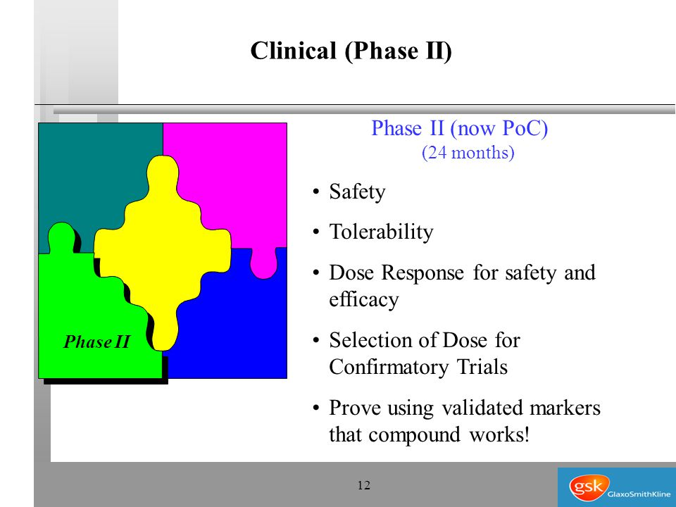 12 Phase II (now PoC) (24 months) Safety Tolerability Dose Response for safety and efficacy Selection of Dose for Confirmatory Trials Prove using validated markers that compound works.