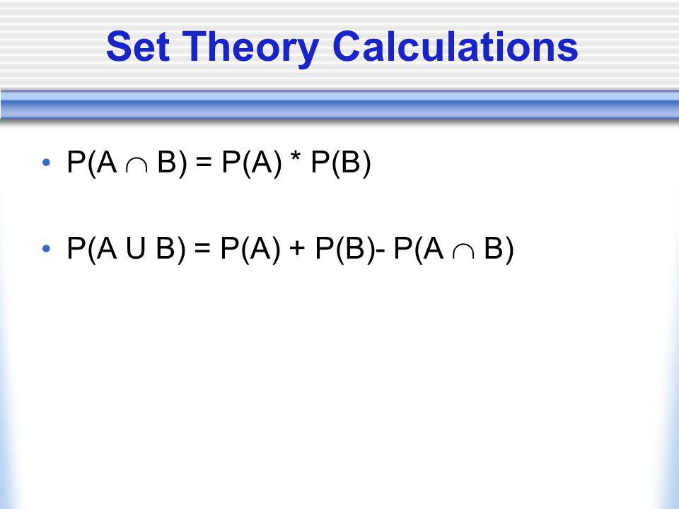 Set Theory Calculations P(A  B) = P(A) * P(B) P(A U B) = P(A) + P(B)- P(A  B)