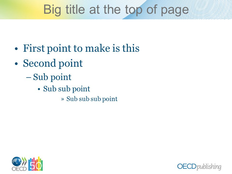 Big title at the top of page First point to make is this Second point –Sub point Sub sub point »Sub sub sub point
