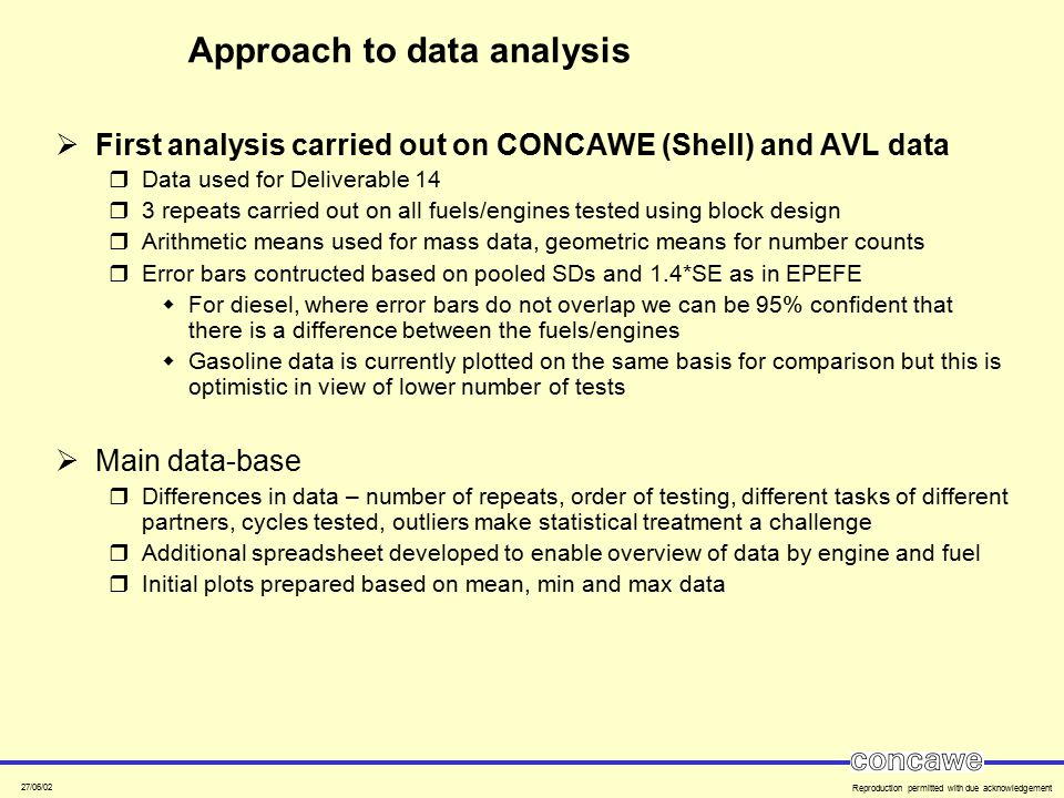 27/06/02 Reproduction permitted with due acknowledgement Approach to data analysis  First analysis carried out on CONCAWE (Shell) and AVL data  Data
