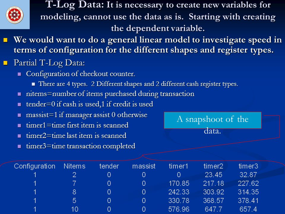 T-Log Data: It is necessary to create new variables for modeling, cannot use the data as is. Starting with creating the dependent variable. We would w