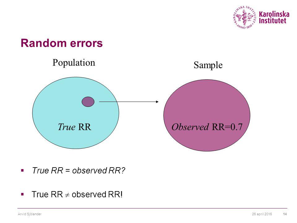 26 april 2015Arvid Sjölander14 Random errors  True RR = observed RR.
