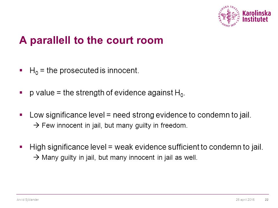 A parallell to the court room  H 0 = the prosecuted is innocent.