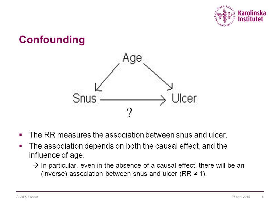 26 april 2015Arvid Sjölander8 Confounding  The RR measures the association between snus and ulcer.