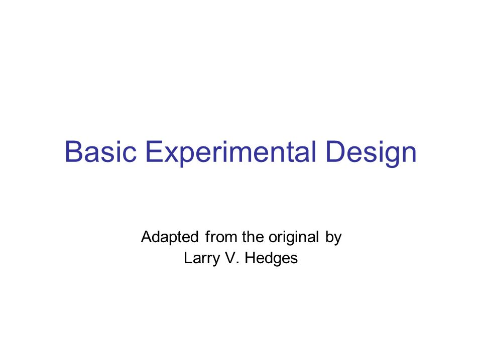 What is Experimental Design.