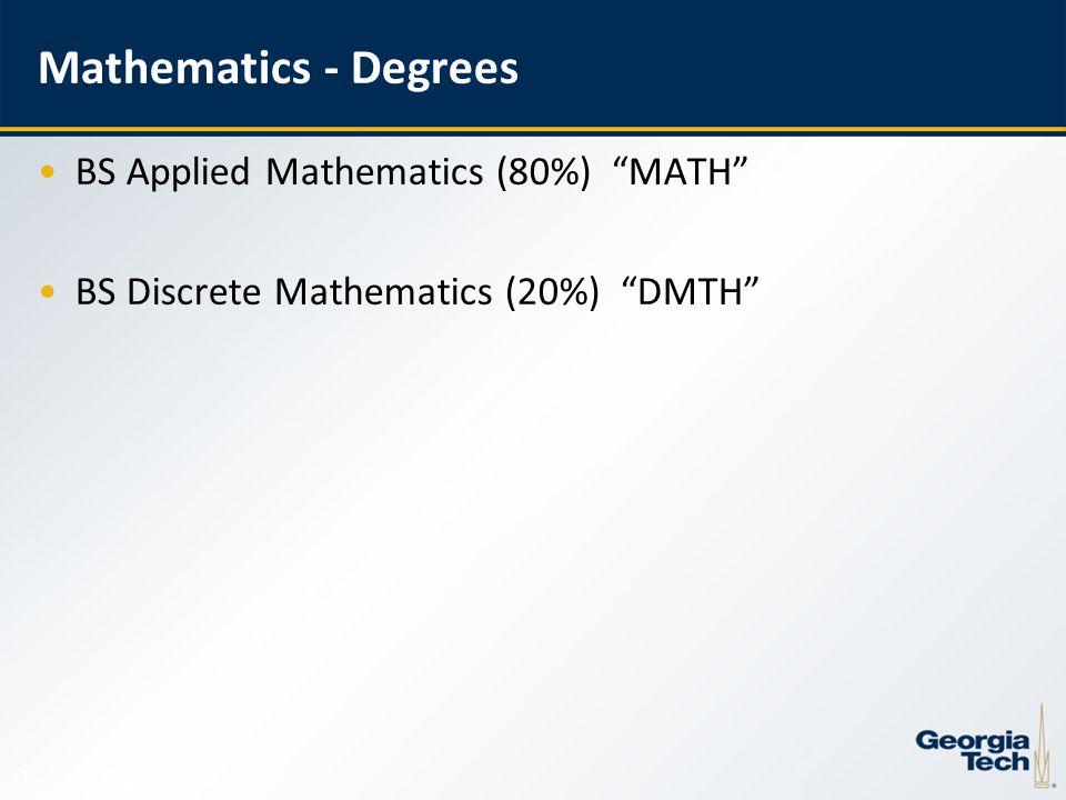 7 Mathematics - Degrees BS Applied Mathematics (80%) MATH BS Discrete Mathematics (20%) DMTH