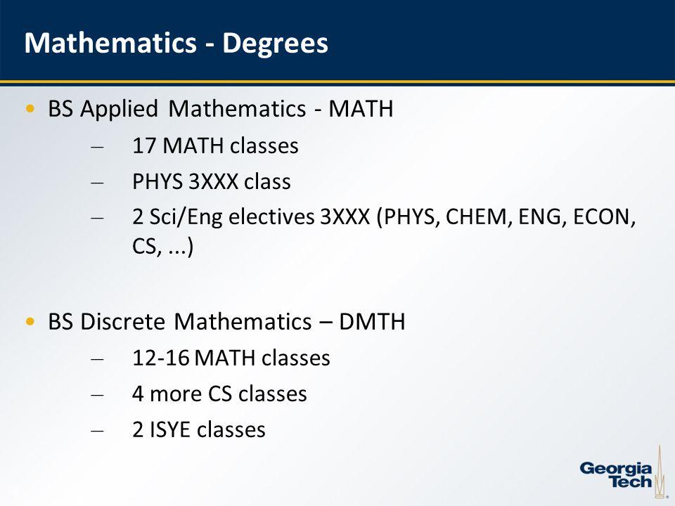 9 Mathematics - Degrees BS Applied Mathematics - MATH – 17 MATH classes – PHYS 3XXX class – 2 Sci/Eng electives 3XXX (PHYS, CHEM, ENG, ECON, CS,...) BS Discrete Mathematics – DMTH – 12-16 MATH classes – 4 more CS classes – 2 ISYE classes