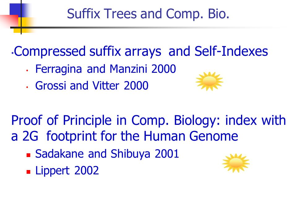 Suffix Trees and Comp. Bio.