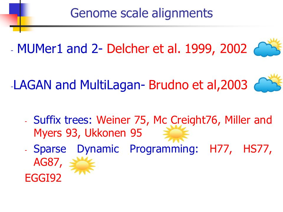 Genome scale alignments - MUMer1 and 2- Delcher et al.