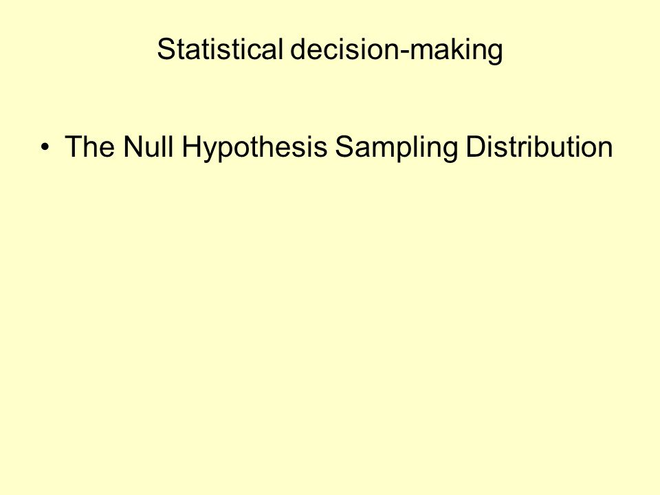 Statistical decision-making The Null Hypothesis Sampling Distribution