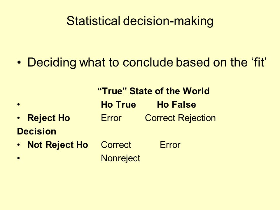 "Statistical decision-making Deciding what to conclude based on the 'fit' ""True"" State of the World Ho TrueHo False Reject Ho Error Correct Rejection D"