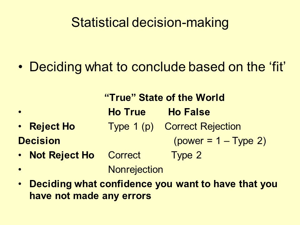 "Statistical decision-making Deciding what to conclude based on the 'fit' ""True"" State of the World Ho TrueHo False Reject Ho Type 1 (p) Correct Reject"