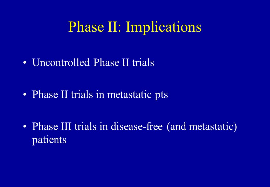 Phase II: Implications Uncontrolled Phase II trials Phase II trials in metastatic pts Phase III trials in disease-free (and metastatic) patients