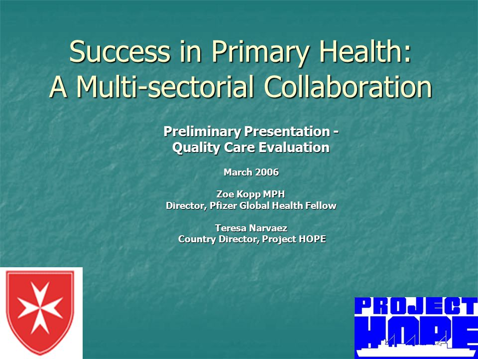 Success in Primary Health: A Multi-sectorial Collaboration Preliminary Presentation - Quality Care Evaluation March 2006 Zoe Kopp MPH Director, Pfizer