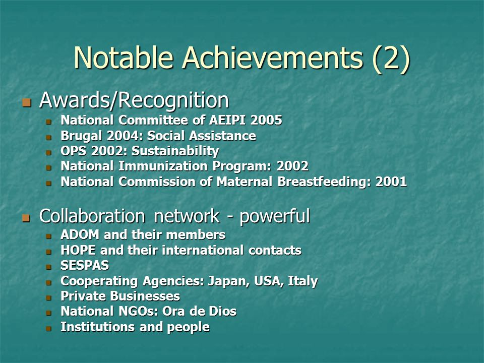 Notable Achievements (2) Awards/Recognition Awards/Recognition National Committee of AEIPI 2005 National Committee of AEIPI 2005 Brugal 2004: Social A