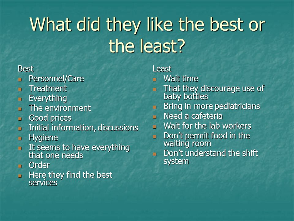 What did they like the best or the least? Best Personnel/Care Personnel/Care Treatment Treatment Everything Everything The environment The environment
