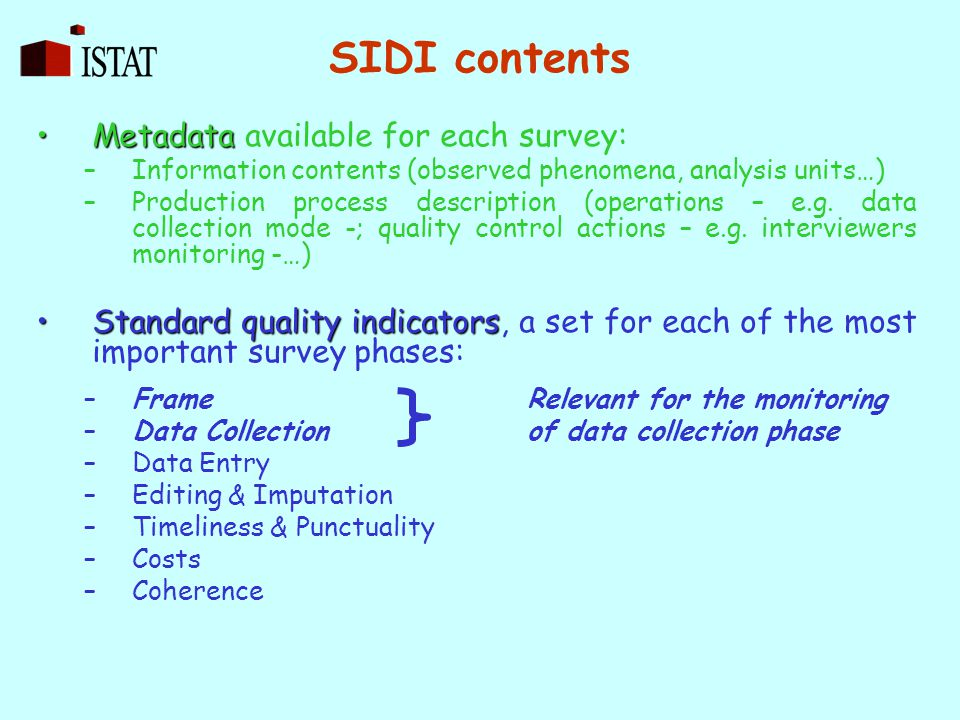 SIDI contents MetadataMetadata available for each survey: –Information contents (observed phenomena, analysis units…) –Production process description