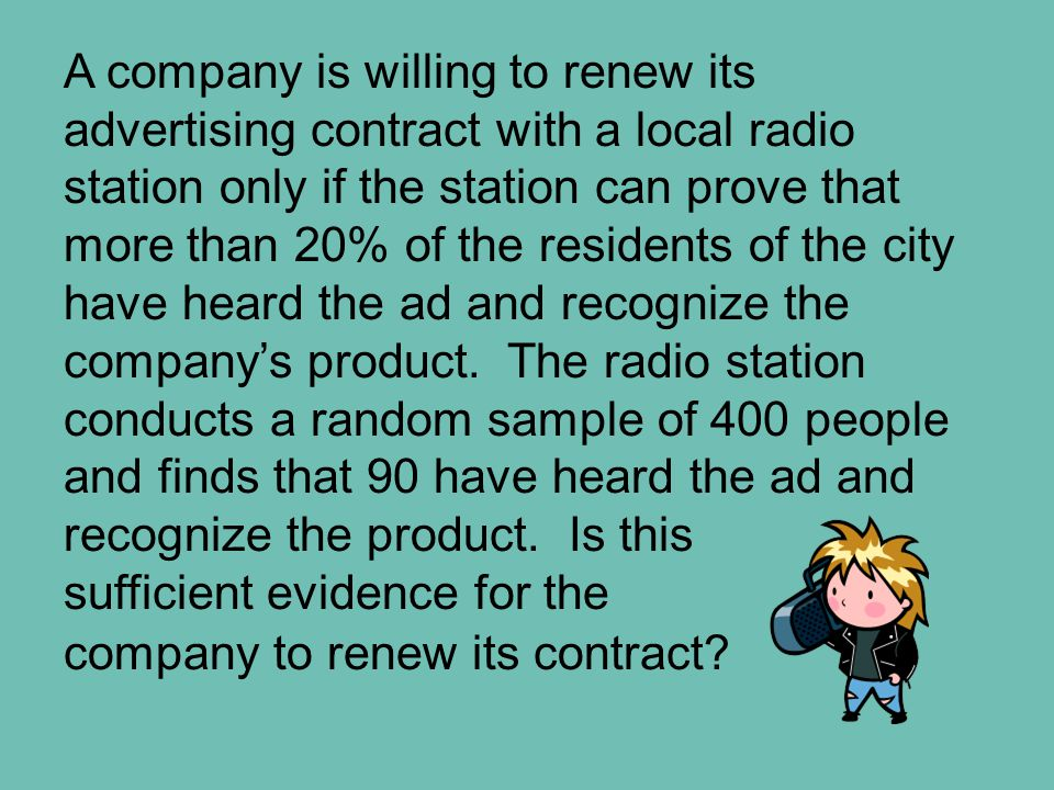 A company is willing to renew its advertising contract with a local radio station only if the station can prove that more than 20% of the residents of the city have heard the ad and recognize the company's product.