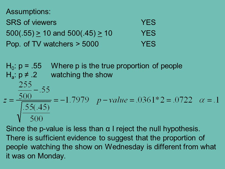 Assumptions: SRS of viewers YES 500(.55) > 10 and 500(.45) > 10YES Pop. of TV watchers > 5000YES H 0 : p =.55Where p is the true proportion of people