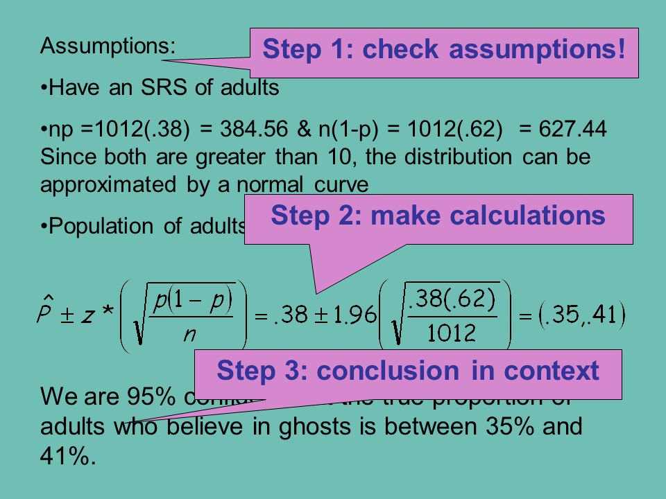 Assumptions: Have an SRS of adults np =1012(.38) = 384.56 & n(1-p) = 1012(.62) = 627.44 Since both are greater than 10, the distribution can be approximated by a normal curve Population of adults is at least 10,120.