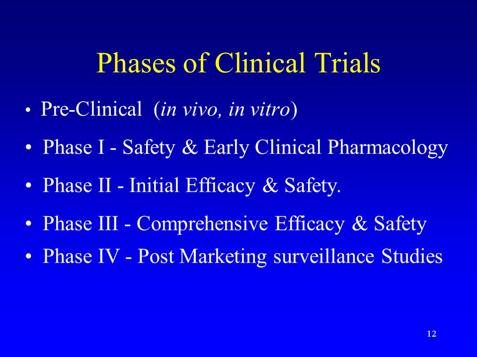 12 Phases of Clinical Trials Pre-Clinical (in vivo, in vitro) Phase I - Safety & Early Clinical Pharmacology Phase II - Initial Efficacy & Safety.