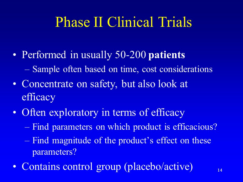 14 Phase II Clinical Trials Performed in usually 50-200 patients –Sample often based on time, cost considerations Concentrate on safety, but also look at efficacy Often exploratory in terms of efficacy –Find parameters on which product is efficacious.