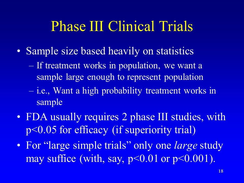 18 Phase III Clinical Trials Sample size based heavily on statistics –If treatment works in population, we want a sample large enough to represent population –i.e., Want a high probability treatment works in sample FDA usually requires 2 phase III studies, with p<0.05 for efficacy (if superiority trial) For large simple trials only one large study may suffice (with, say, p<0.01 or p<0.001).