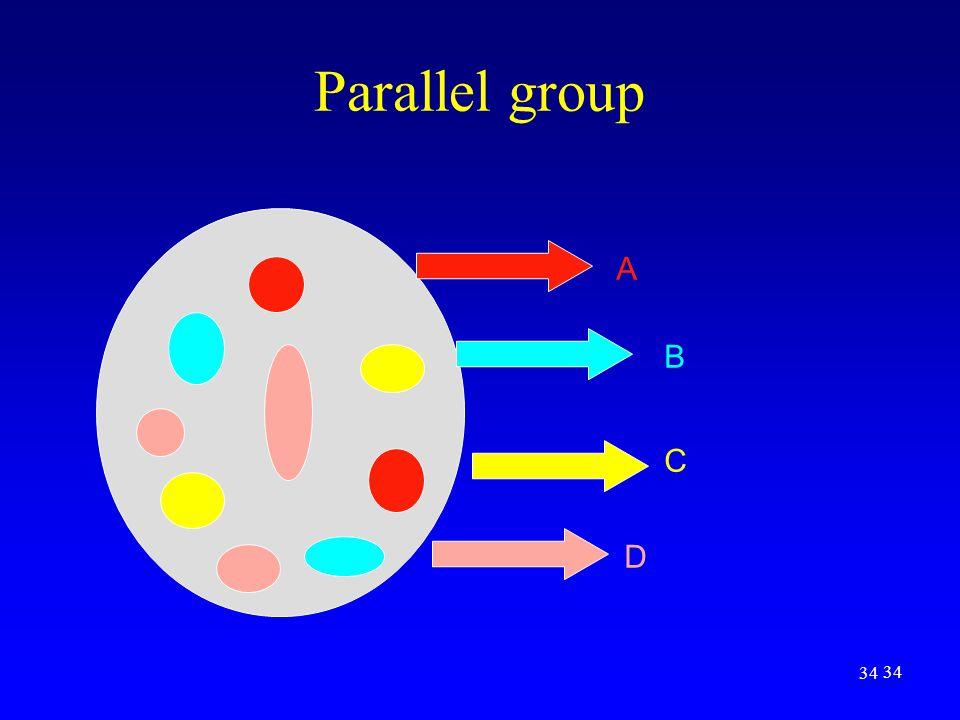 34 Parallel group A B C D
