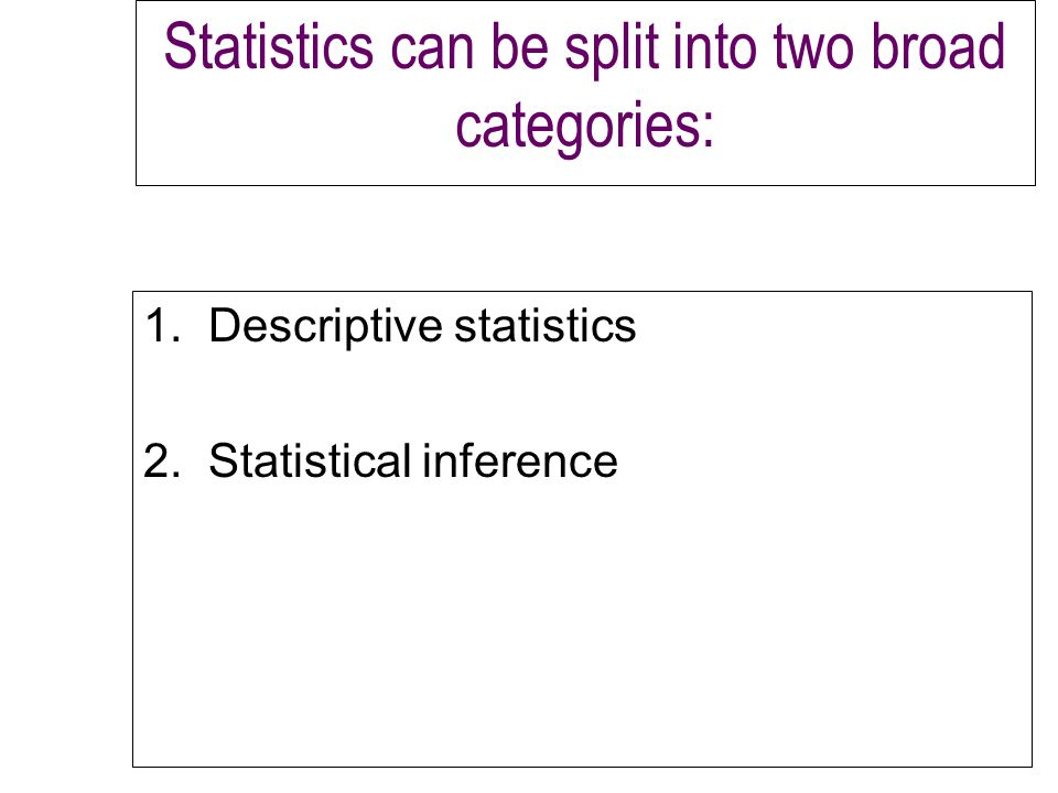 Statistics can be split into two broad categories: 1.