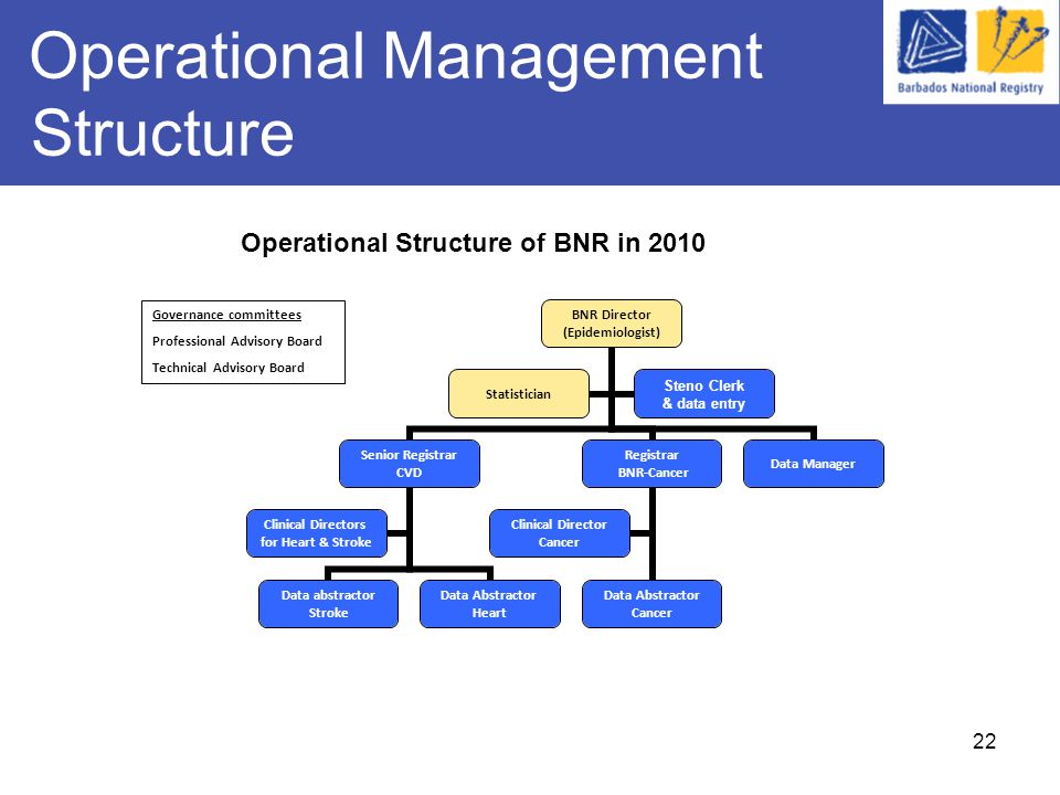 22 Operational Management Structure BNR Director (Epidemiologist) Senior Registrar CVD Data abstractor Stroke Data Abstractor Heart Clinical Directors for Heart & Stroke Registrar BNR-Cancer Data Abstractor Cancer Clinical Director Cancer Data Manager Statistician Steno Clerk & data entry Governance committees Professional Advisory Board Technical Advisory Board Operational Structure of BNR in 2010