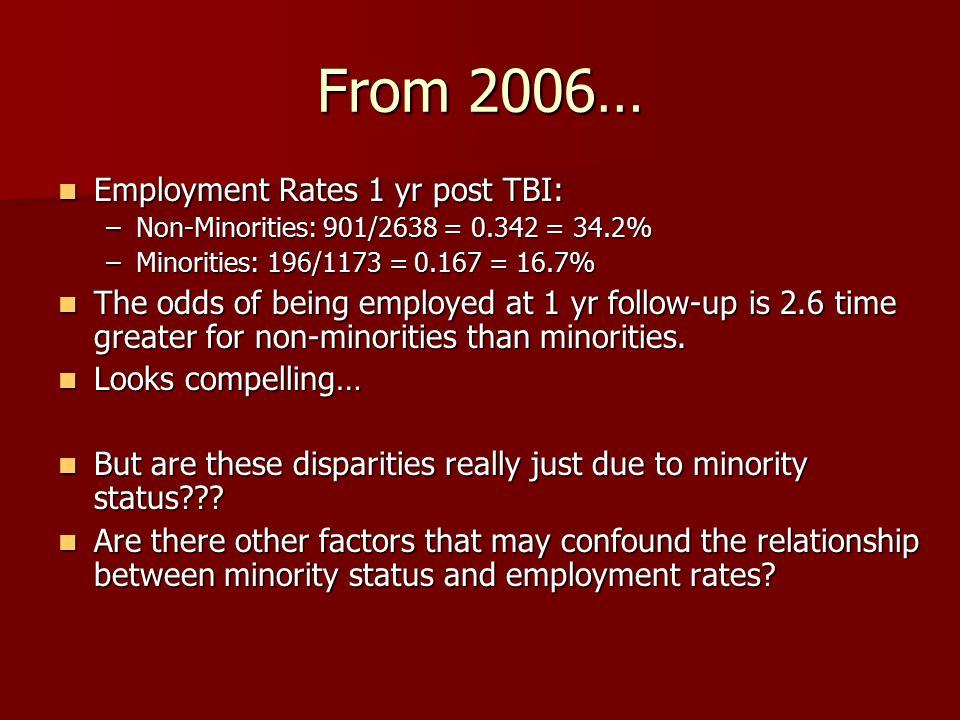 From 2006… Employment Rates 1 yr post TBI: Employment Rates 1 yr post TBI: –Non-Minorities: 901/2638 = 0.342 = 34.2% –Minorities: 196/1173 = 0.167 = 1