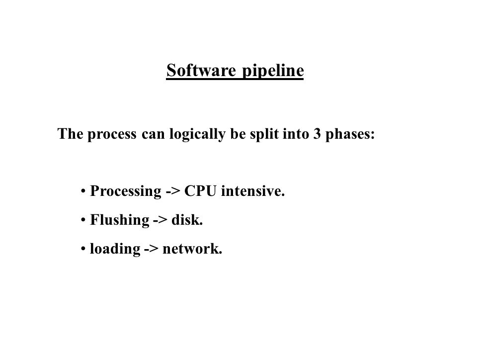 Software pipeline The process can logically be split into 3 phases: Processing -> CPU intensive.