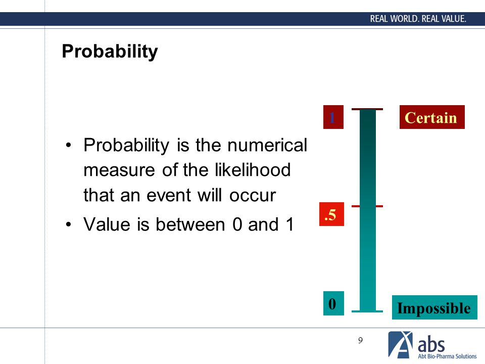 9 Probability Probability is the numerical measure of the likelihood that an event will occur Value is between 0 and 1 Certain Impossible.5 1 0