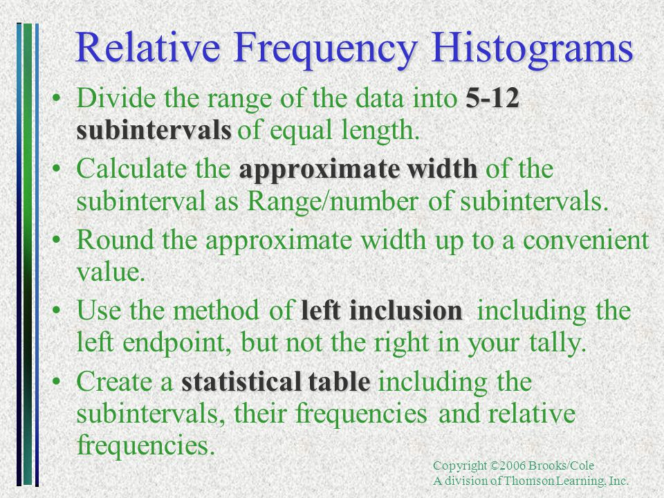 Copyright ©2006 Brooks/Cole A division of Thomson Learning, Inc. Relative Frequency Histograms 5-12 subintervalsDivide the range of the data into 5-12