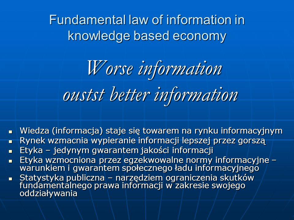 Fundamental law of information in knowledge based economy Worse information Worse information oustst better information Wiedza (informacja) staje się towarem na rynku informacyjnym Wiedza (informacja) staje się towarem na rynku informacyjnym Rynek wzmacnia wypieranie informacji lepszej przez gorszą Rynek wzmacnia wypieranie informacji lepszej przez gorszą Etyka – jedynym gwarantem jakości informacji Etyka – jedynym gwarantem jakości informacji Etyka wzmocniona przez egzekwowalne normy informacyjne – warunkiem i gwarantem społecznego ładu informacyjnego Etyka wzmocniona przez egzekwowalne normy informacyjne – warunkiem i gwarantem społecznego ładu informacyjnego Statystyka publiczna – narzędziem ograniczenia skutków fundamentalnego prawa informacji w zakresie swojego oddziaływania Statystyka publiczna – narzędziem ograniczenia skutków fundamentalnego prawa informacji w zakresie swojego oddziaływania
