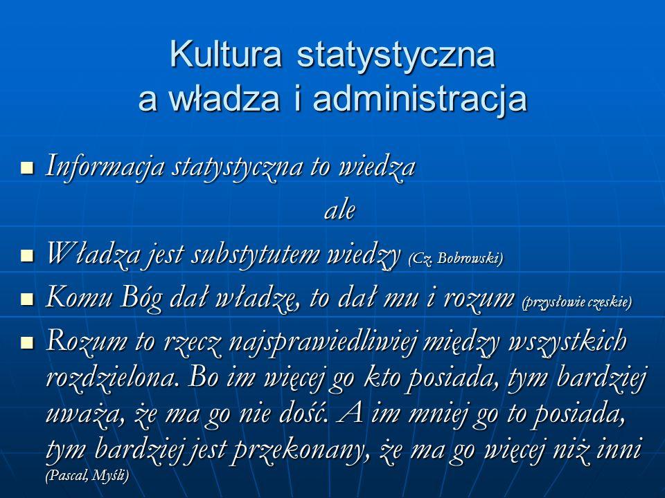Kultura statystyczna a władza i administracja Informacja statystyczna to wiedza Informacja statystyczna to wiedzaale Władza jest substytutem wiedzy (Cz.