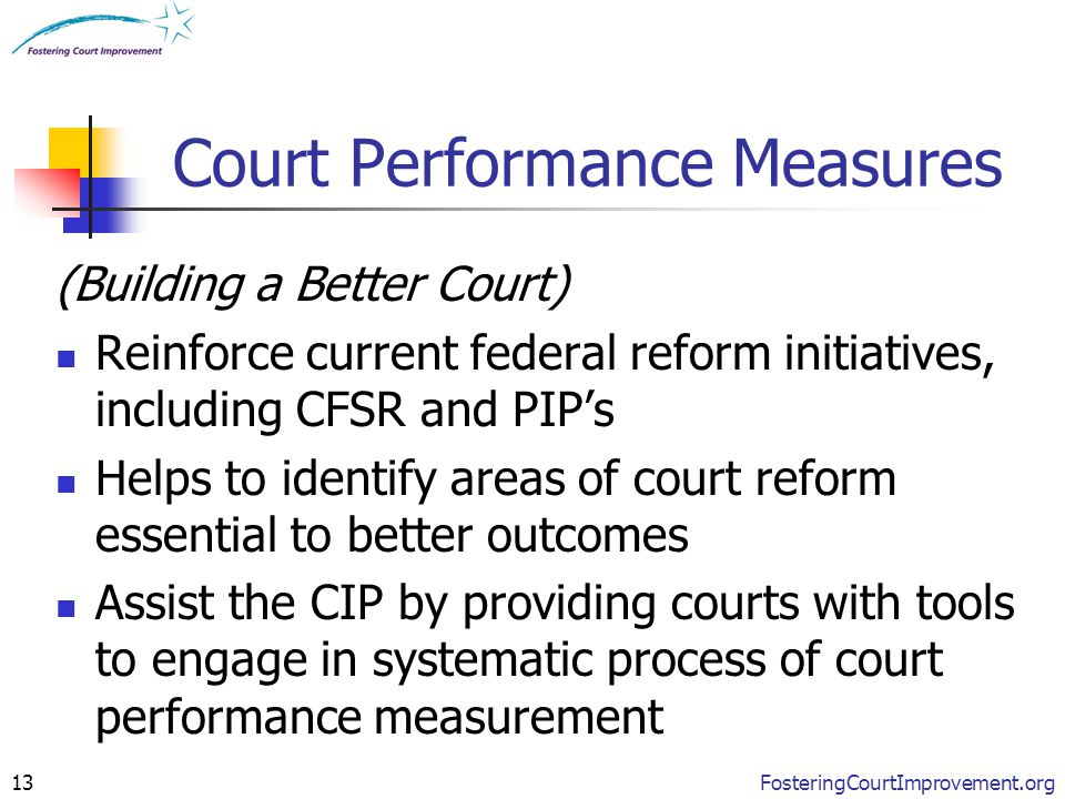 FosteringCourtImprovement.org13 Court Performance Measures (Building a Better Court) Reinforce current federal reform initiatives, including CFSR and