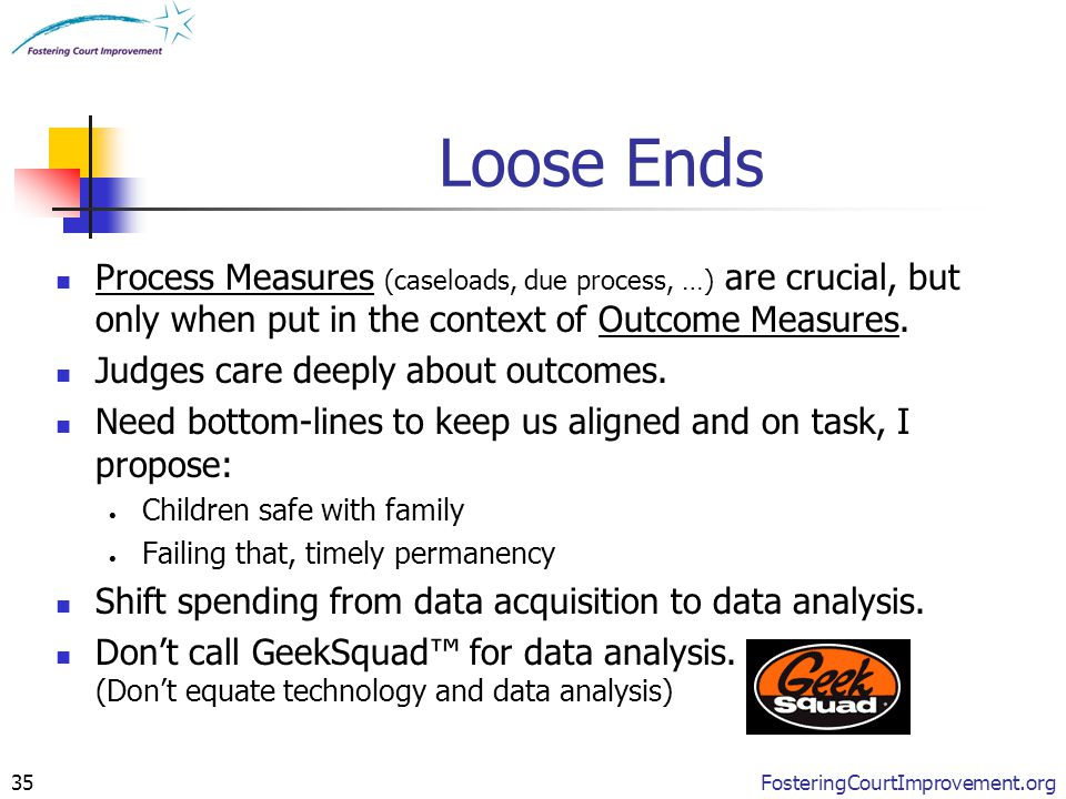 FosteringCourtImprovement.org35 Loose Ends Process Measures (caseloads, due process, …) are crucial, but only when put in the context of Outcome Measu