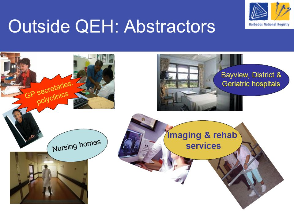 Outside QEH: Abstractors Nursing homes Imaging & rehab services Bayview, District & Geriatric hospitals GP secretaries, polyclinics