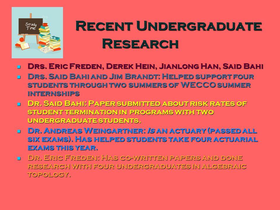 Recent Undergraduate Research Recent Undergraduate Research Drs.