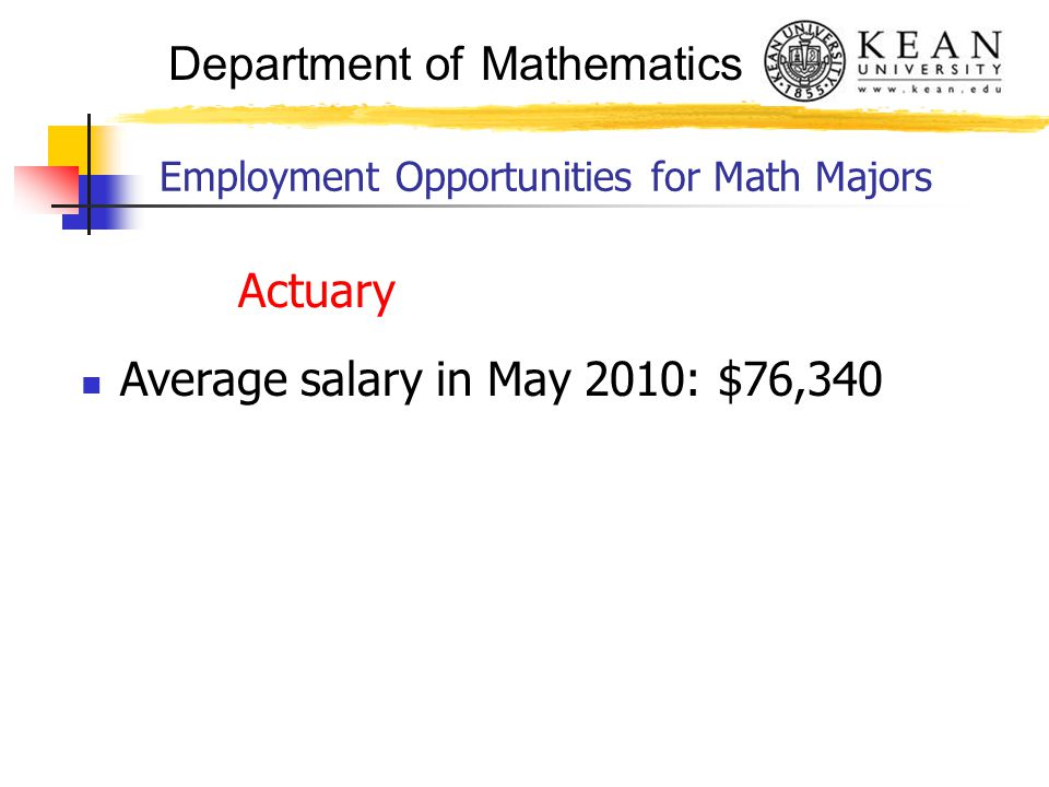 Department of Mathematics Employment Opportunities for Math Majors Actuary Average salary in May 2010: $76,340