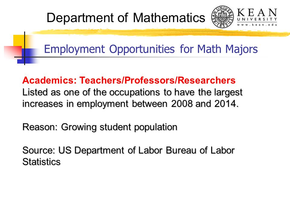 Department of Mathematics Employment Opportunities for Math Majors Academics: Teachers/Professors/Researchers Listed as one of the occupations to have the largest increases in employment between 2008 and 2014.