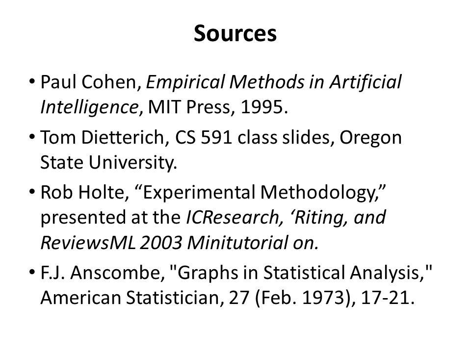 Sources Paul Cohen, Empirical Methods in Artificial Intelligence, MIT Press, 1995. Tom Dietterich, CS 591 class slides, Oregon State University. Rob H