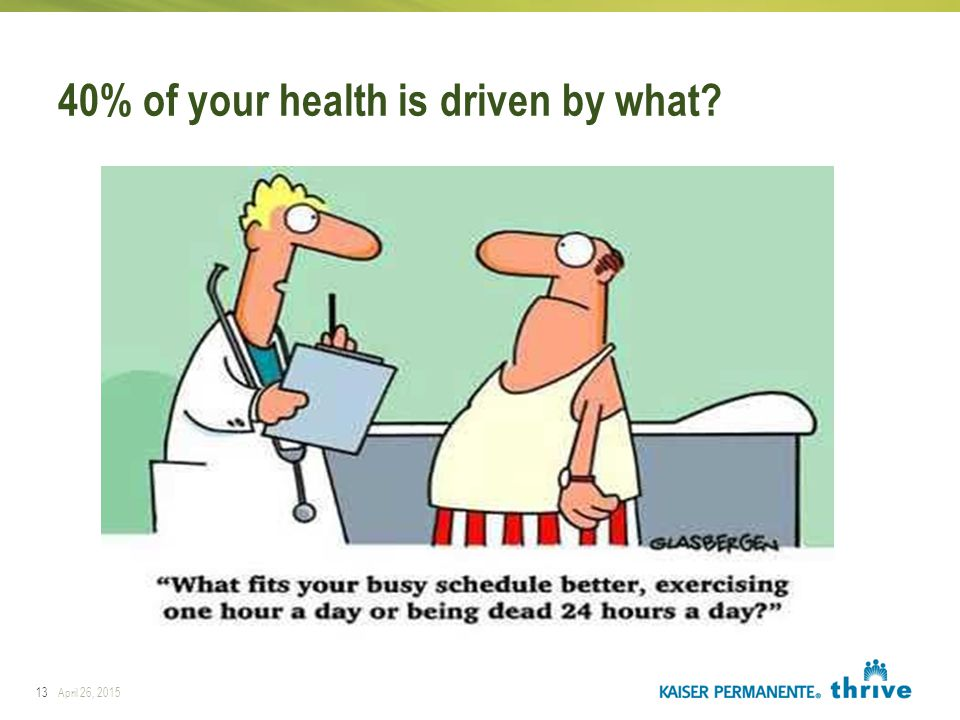 40% of your health is driven by what? 13April 26, 2015