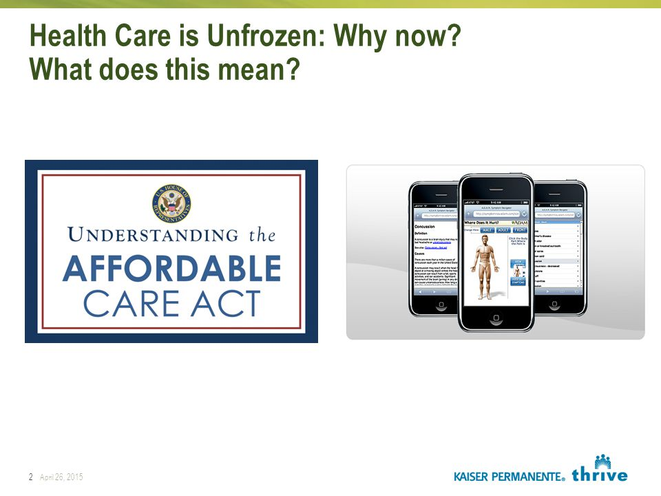2April 26, 2015 Health Care is Unfrozen: Why now? What does this mean? Rapid Response Rapid Learning