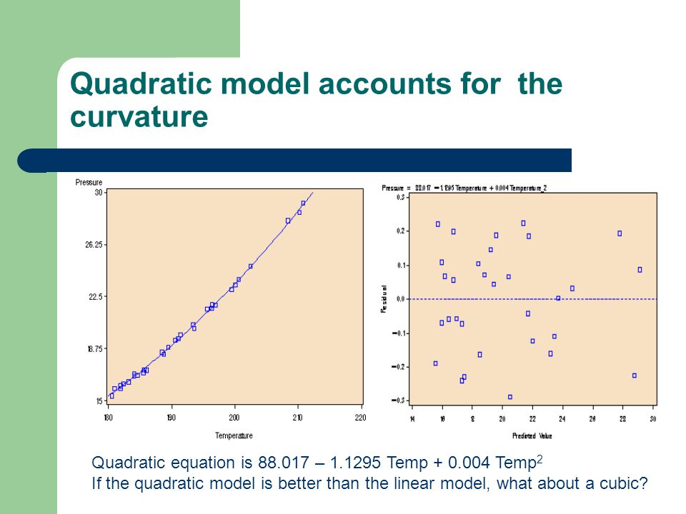 Quadratic model accounts for the curvature Quadratic equation is 88.017 – 1.1295 Temp + 0.004 Temp 2 If the quadratic model is better than the linear model, what about a cubic