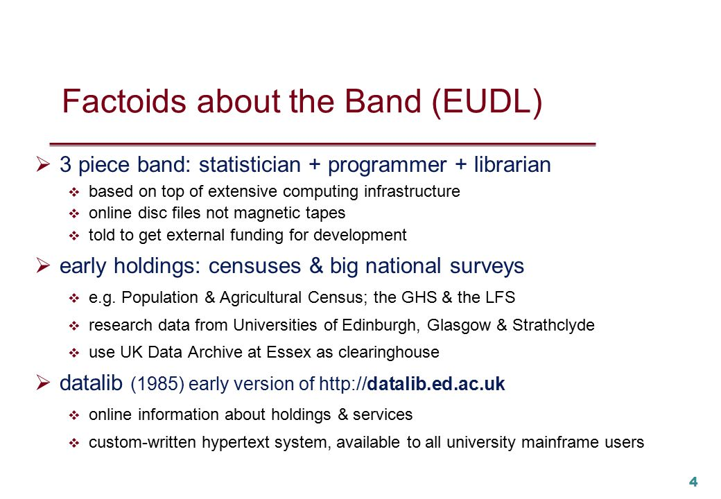 3 So may [we] introduce to you, the act you've known for all these years Edinburgh University Data Library (EUDL)...