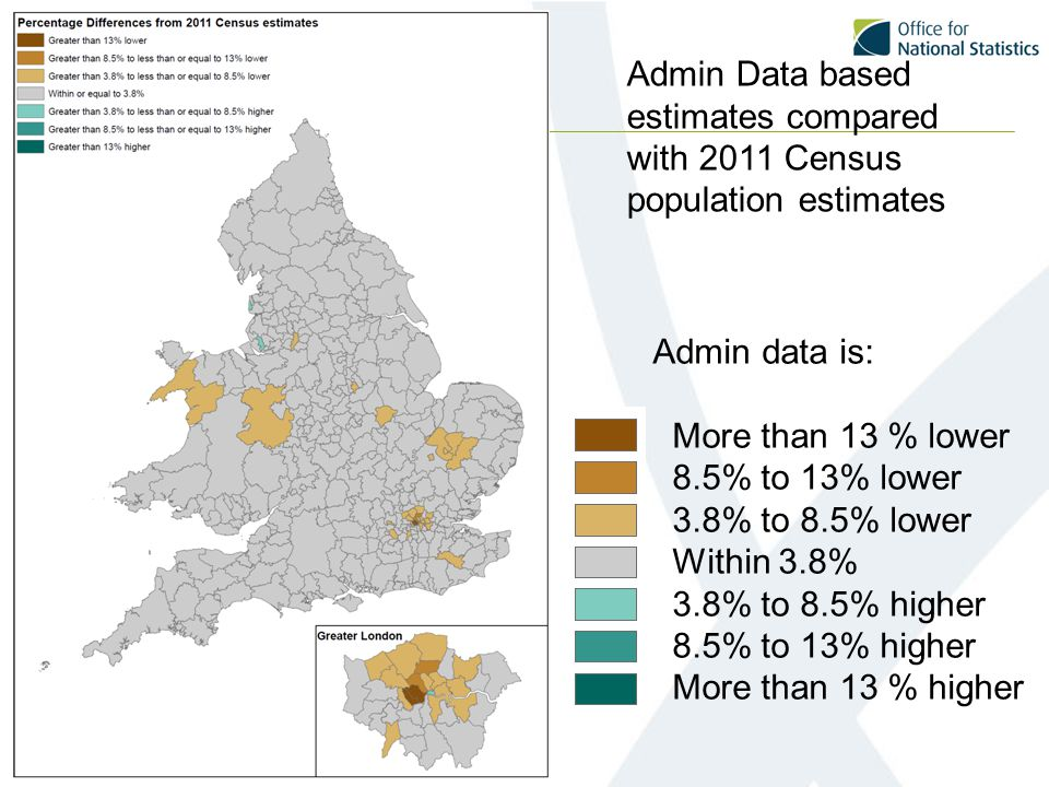 Admin Data based estimates compared with 2011 Census population estimates Admin data is: More than 13 % lower 8.5% to 13% lower 3.8% to 8.5% lower Within 3.8% 3.8% to 8.5% higher 8.5% to 13% higher More than 13 % higher