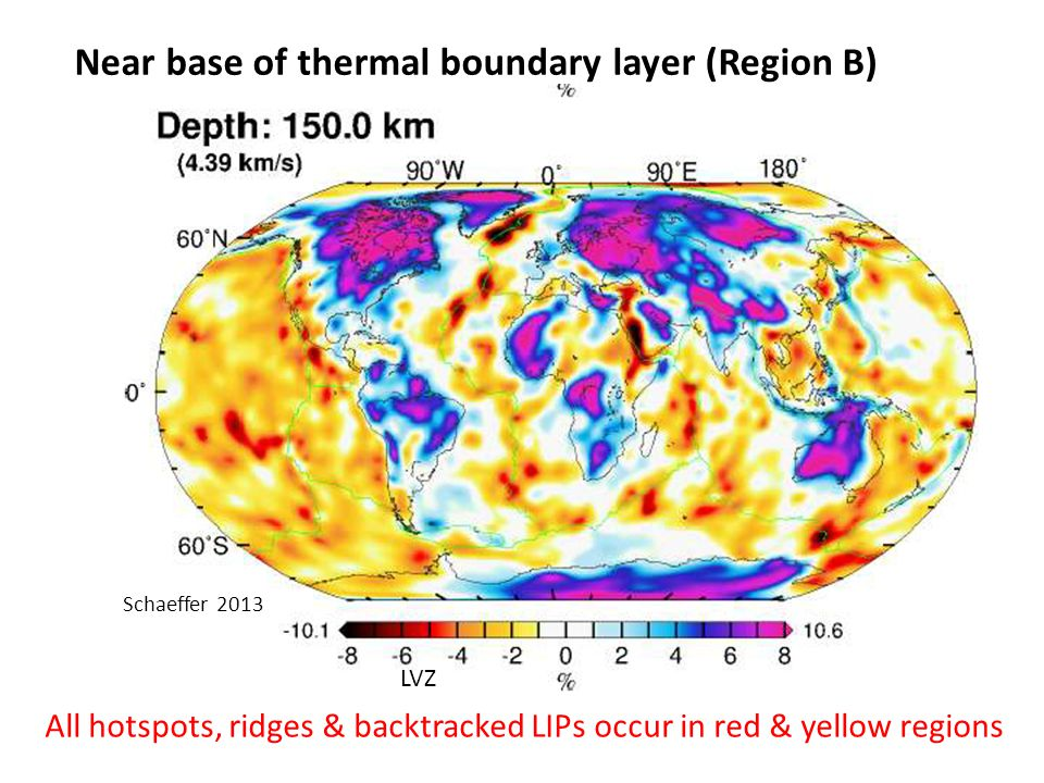 All hotspots, ridges & backtracked LIPs occur in red & yellow regions LVZ Near base of thermal boundary layer (Region B) Schaeffer 2013
